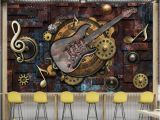 Wall Mural for Bar Custom Mural Wallpaper Wall Covering Retro Metal Gears Musical Notes Guitar Bar Ktv Background Picture Decoration Wall Painting Wall Wallpapers Hd