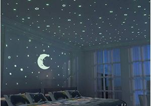 Wall Mural Glow In the Dark Fluorescent Stars and Moon 300 Pcs Glow In the Dark Stars for Kid Bedroom Wall Sticker Room Decoration for Boy Girl Baby