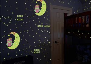 Wall Mural Glow In the Dark Glow In the Dark Owl Moon Stars Luminous Wall Stickers for