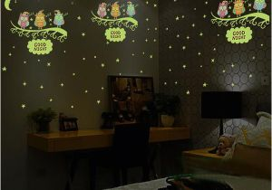 Wall Mural Glow In the Dark Nous Owl Moon Star Wall Sticker Stars Glow for Kids Rooms Glow In the Dark Home Decor Good Night Fluorescent Mural Poster Decorative Stickers