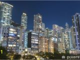 Wall Mural Hong Kong Residential Buildings In Hong Kong at Night Wall Mural Vinyl