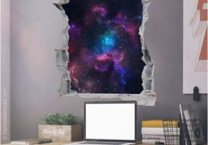 Wall Mural Installation Instructions Space Wall Decal Galaxy Wall Sticker Hole In the Wall 3d