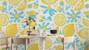 Wall Mural or Wallpaper Lemon Pattern White Wall Mural Wallpaper Patterns