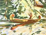 Wall Mural Paint by Numbers Kit Fisherman Canoe In 2019
