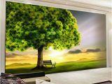 Wall Mural Painters Custom 3d Mural Wallpaper Green Tree Sunset Nature Landscape Wall