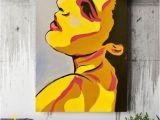 Wall Mural Pop Art Hand Painted Canvas Wall Art Woman Face Canvas Painting Picture Canvas Wall Fashion Image Woman Abstraction Face Pop Art Face Pop Art