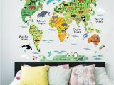 Wall Mural Stickers Australia Colorful Animal World Map Wall Stickers Living Room Home