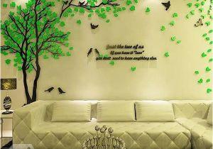 Wall Mural Stickers Australia Creative Green Tree and Bird Pattern Crystal Acrylic 3d Wall