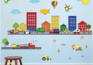 Wall Mural Stickers Australia Decalmile Construction Kids Wall Stickers Cars Transportation Wall Decals Baby Nursery Childrens Bedroom Living Room Wall Decor
