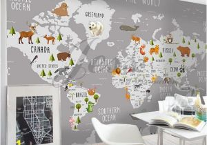Wall Mural Stickers Canada 3d Nursery Kids Room Animal World Map Removable Wallpaper