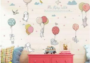 Wall Mural Stickers for Kids Rooms Cartoon Diy Super Cute Balloon Rabbit Wall Sticker for Kids Room