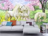 Wall Murals and Wallpaper 3d Custom Wallpaper Unicorn Sakura Wallpaper Fantasy
