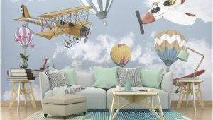 Wall Murals Childrens Rooms Airplane and Baloon Wallpaper Kids Room Cartoon Wall Mural