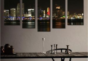 Wall Murals Cityscapes 2019 5 Picture Bination Wall Art Canvas Print Night Skyline