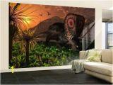 Wall Murals.com Wall Mural A Lone torosaurus Dinosaur Feeding On Plants by