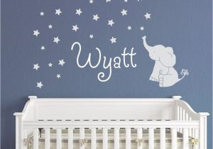 Wall Murals for Baby Boy Nursery Baby Elephant with Stars Wall Decal