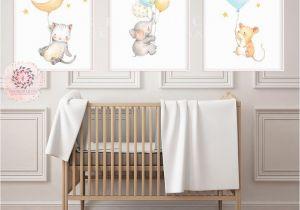Wall Murals for Baby Boy Nursery Boho Elephant Mouse Cat Nursery Wall Art Print Balloons