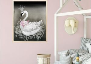 Wall Murals for Baby Girl Nursery Swan Princess Nursery Decor Print In Black and Pink Baby Girl