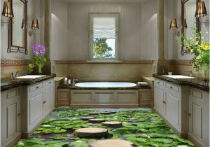 Wall Murals for Bathrooms Uk Lilypad Pond Stone Stage Fish Floor Decals 3d Wallpaper Wall Mural