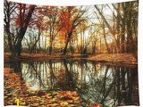 Wall Murals for College Dorms Amazon Jawo Autumn forest Decor Tapestry Fall Maple