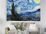 Wall Murals for College Dorms Baccessor Vincent Van Gogh Tapestry Wall Hanging Starry Night Oil Painting Abstract Art Rustic Home Decor for Living Room Bedroom College Dorm