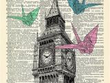 Wall Murals for College Dorms Big Ben origami London Art Print Cool Vintage House Wall Decor Vintage Illustration College Dorm Room Decal Pretty Artwork Picture 017