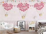Wall Murals for Girls Bedroom Nursery Wallpaper for Kids Pink Hot Air Balloon Wall Mural Cartoon Rabbit Wall Art Girls Boys Bedroom Baby Room Play Room Children Rooms