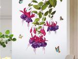 Wall Murals for Hallways Großhandel Schmetterling orchidee Blume Wandaufkleber Tür Fenster Glas Dekor Tapete Poster Kunst Flur Dekoration Grafiken Schrank Kühlschränke