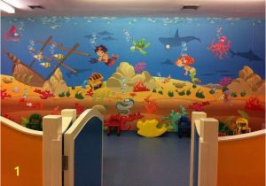Wall Murals for Kids Playrooms Kids Playroom Underwater Wall Mural theme