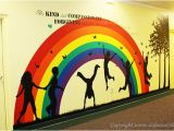 Wall Murals for Sunday School Rooms Children S area Decor Children Playing Wall Silhouette