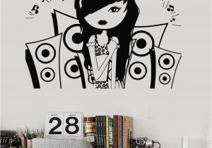 Wall Murals for Teenagers Vinyl Wall Decal Music Teen Girl Room Music Speakers Stickers Mural