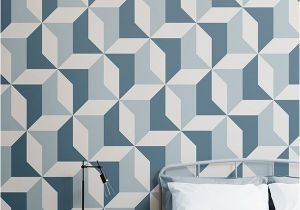 Wall Murals for Teens Blue Geometric Wallpaper Abstract Design