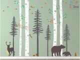 Wall Murals forest Scene Removable Wall Sticker Decor Nursery forest Baby Room Decals Woodland Birch Tree Pine Tree Wall Decal Bear Scandinavian Wall Art Kids Dc122a