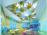 Wall Murals From Your Photos 3d Ceiling Murals Wallpaper Custom Non Woven Mural 3d Wall Murals Wallpaper for Walls Summer Coconut Palm Trees Blue Sky White Clouds Hd