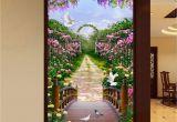 Wall Murals Garden Scenes 3d Flowers Garden Bridge Arch Corridor Entrance Wall Mural Decals