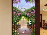 Wall Murals Garden Scenes 3d Flowers Garden Bridge Arch Corridor Entrance Wall Mural Decals