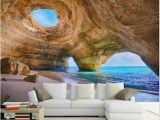 Wall Murals Garden Scenes Custom 3d Beach Wallpaper Reef Cave Scene Wall Mural