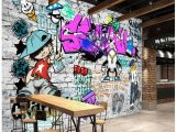 Wall Murals Graffiti Style Us $30 72 Custom Fashion Mural Trend Street Art Graffiti Decorative Wallpaper Hip Hop Brick Wall Tea Restaurant Background Wallpaper In
