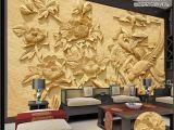 Wall Murals In Phoenix 3d Wallpaper Embossed Phoenix Peony Wood Carved Living Room