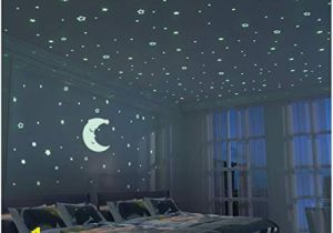 Wall Murals Night Sky Glow In the Dark Stars 300 Pcs & Fluorescent Moon 24cm Kid Bedroom Wall Sticker Diy Room Decoration for Boy Girl Baby House Indoor Wall