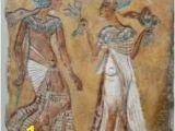 Wall Murals Of Amenhotep and Nefertiti Akhenaten Statues