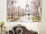 Wall Murals Of Paris Romantic City Couple Paris Eiffel tower Landscape Abstract Oil