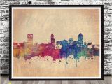 Wall Murals Raleigh Nc Vintage Raleigh Nc City Skyline Watercolor Style Print