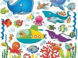 Wall Murals Under the Sea Fish Wall Stickers for Kids Under the Sea Wall Decals for toddlers' Bathroom