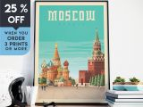 Wall Murals Vancouver Wa Moscow Russia Vintage Travel Poster Wall Art Print