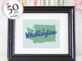 Wall Murals Vancouver Wa Washington Wall Art Washington Art Print State Wall Art Graduation Gift for Her Graduation Gift for Best Friend Moving Away Gift