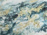 "Wall Murals Wichita Ks Blue Gold Abstract Canvas Wall Art 30"" X 30"""
