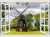 Wall Murals Window Scene Amazon Greathomeart Modern Window Scenes Windmill 3d Wall