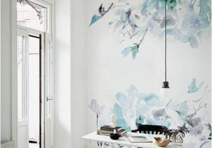 Wall Murals with Lights Blue Vintage Spring Floral Wallpaper Watercolor Wallpaper