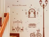 Wall Murals with Lights Coffee House Street Light Wall Stickers Home Decor Living Room Bedroom Kitchen Stairs Art Wall Decals Poster Mural Decals for Walls